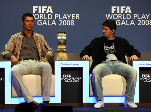 Cristiano Ronaldo and Lionel Messi together, in the FIFA World Player of the Year 2008 gala and ceremony