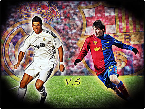 Cristiano Ronaldo and Lionel Messi, in a Real Madrid vs Barcelona wallpaper 2012