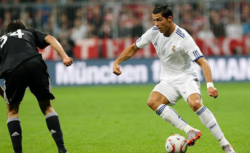 Cristiano Ronaldo playing for Real Madrid against Bayern Munich, in the 2011-2012 pre-season