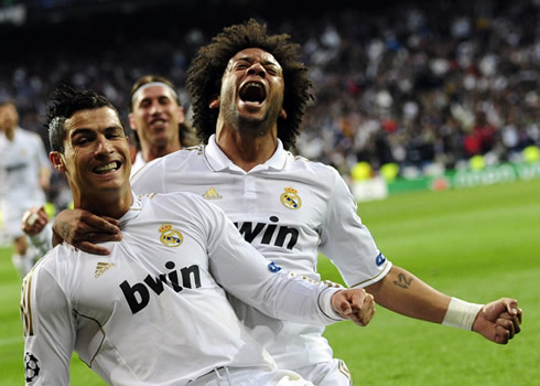 Cristiano Ronaldo and Marcelo joy celebrating Real Madrid goal against Bayern Munich, in 2012