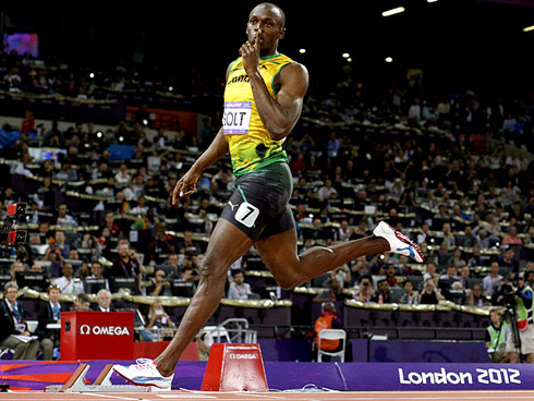Usain Bolt Demanding Silence As He Finishes His 100m Run In The 2012 London Olympics
