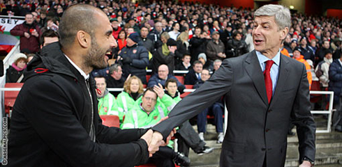 Arsene Wenger and Pep Guardiola, in Arsenal vs Barcelona