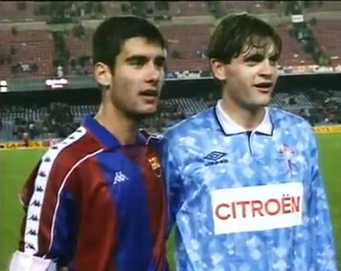 Old photo from Pep Guardiola and Tito Vilanova, when they both were football players for Barcelona and Celta de Vigo