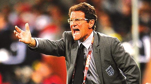 Fabio Capello in action during a game for England, sending out instructions to the football field