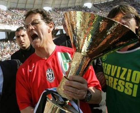 Fabio Capello lifting an Italian trophy for Juventus FC
