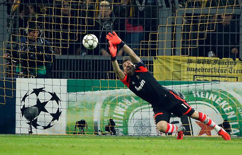 ... Casillas flying to make a stop and save for Real Madrid, in 2012