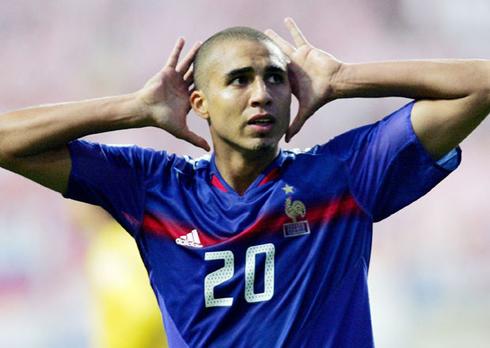 David Trézéguet making the deaf celebration, after scoring a goal for France