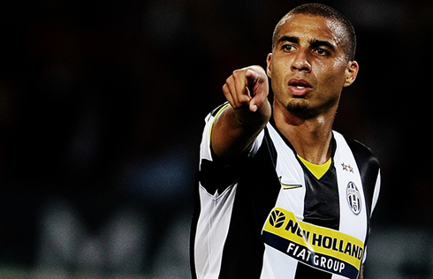 David Trézéguet pointing the way in front of him, when he played for Juventus in Italy