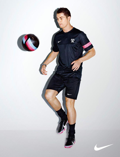 Cristiano Ronaldo with his new Nike pink training clothing line, in 2012-2013
