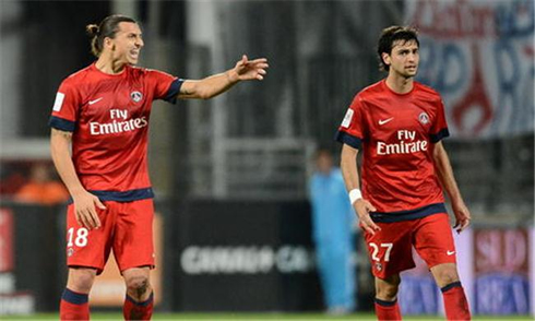 Javier Pastore and Zlatan Ibrahimovic, playing in PSG in 2012-2013