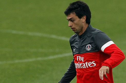 Javier Pastore in a training session for PSG, in 2012-2013