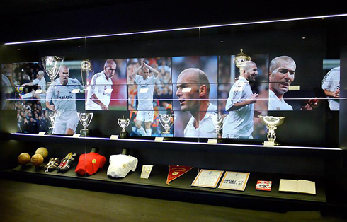 Real Madrid Legendary Players Room Displaying Zinedine Zidane Memorabilia