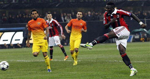 Muntari scoring a goal in AC Milan 2-0 Barcelona, for the Champions League 2013