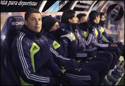 Cristiano Ronaldo in Real Madrid bench, before a league game in 2013