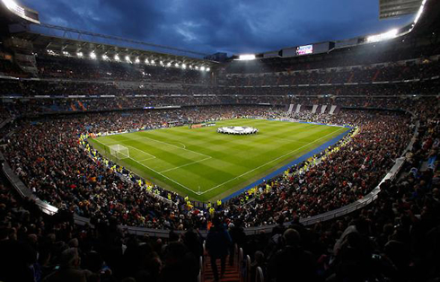 fully packed stadium at the santiago bernabeu for a champions league night game