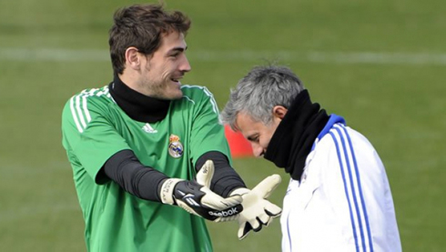 José Mourinho and Iker Casillas joking and having fun during a Real Madrid training session