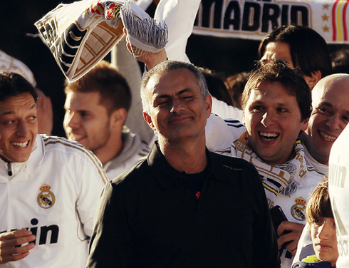 José Mourinho smiling in Real Madrid party and celebrations