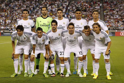 Real Madrid line-up against the LA Galaxy, in 2013