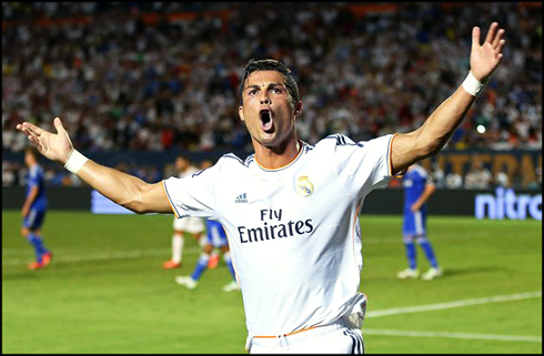 Cristiano Ronaldo goal celebration in Real Madrid 3-1 Chelsea, in 2013