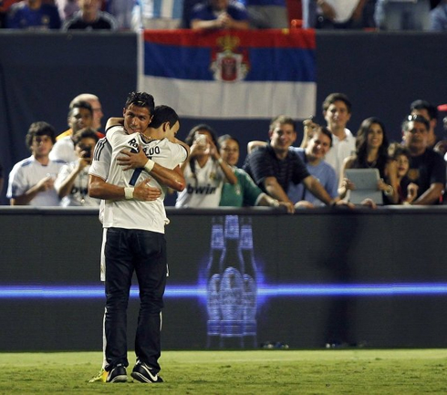 Cristiano Ronaldo hugging a fan in Real Madrid vs Chelsea