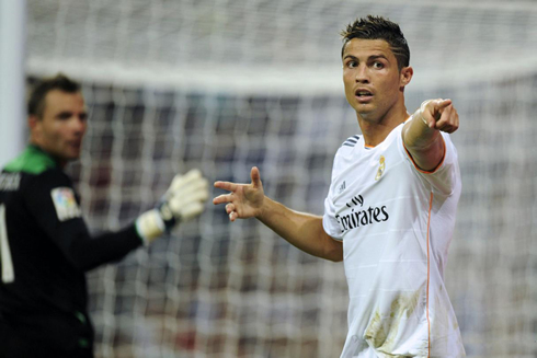 Cristiano Ronaldo pointing at someone