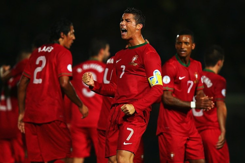 Cristiano Ronaldo carrying Portugal on his shoulders for the 2014 FIFA World Cup in Brazil