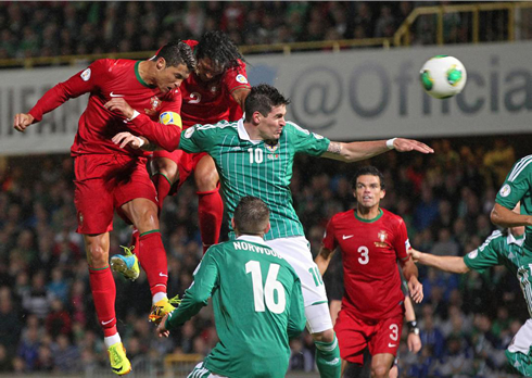 Cristiano Ronaldo powerful header goal, in Northern Ireland vs Portugal
