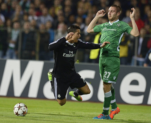Ludogorets 1 2 real madrid tougher to crack than expected for Cristiano ronaldo dive