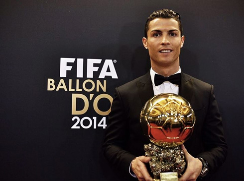 Image result for ronaldo with his ballon d'or trophy
