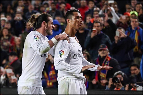 Cristiano Ronaldo calming down Barcelona fans after scoring the winner for Real Madrid in El Clasico 2-1 win, in 2016