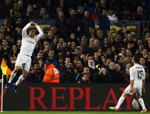 Cristiano Ronaldo winning goal celebration in Camp Nou, in Real Madrid 2-1 win over Barcelona