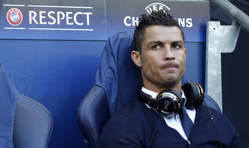 Cristiano Ronaldo on the bench in the Champions League semifinals in 2016