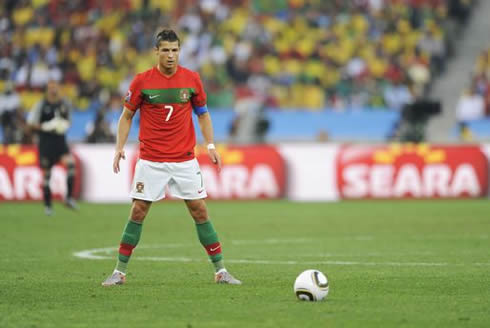 Ronaldo kicking a ball