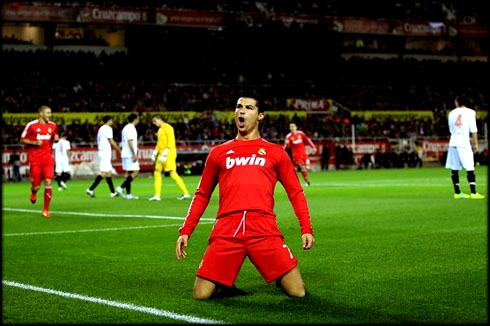 Cristiano Ronaldo Hat Trick Goal Celebration  In A Red Real Madrid