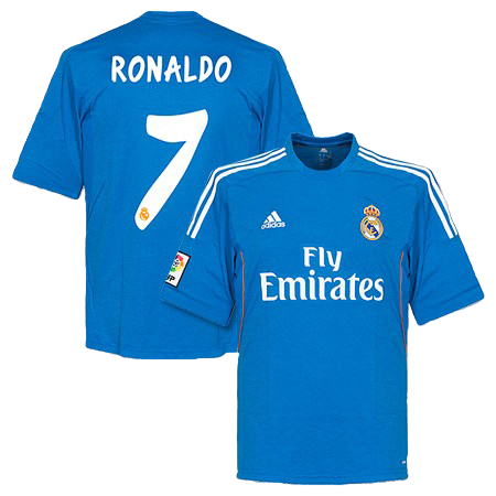 Cristiano Ronaldo Real Madrid Away Blue Jersey Shirt Uniform kit 2013/14 - Adidas and Fly Emirates sponsorship