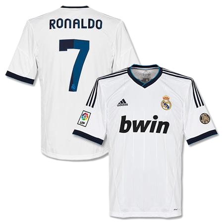 Cristiano Ronaldo Real Madrid Home Jersey Shirt Uniform kit 2012/13 - Adidas and bwin sponsorship