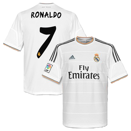 Cristiano Ronaldo Real Madrid Home Jersey Shirt Uniform kit 2013/14 - Adidas and Fly Emirates sponsorship